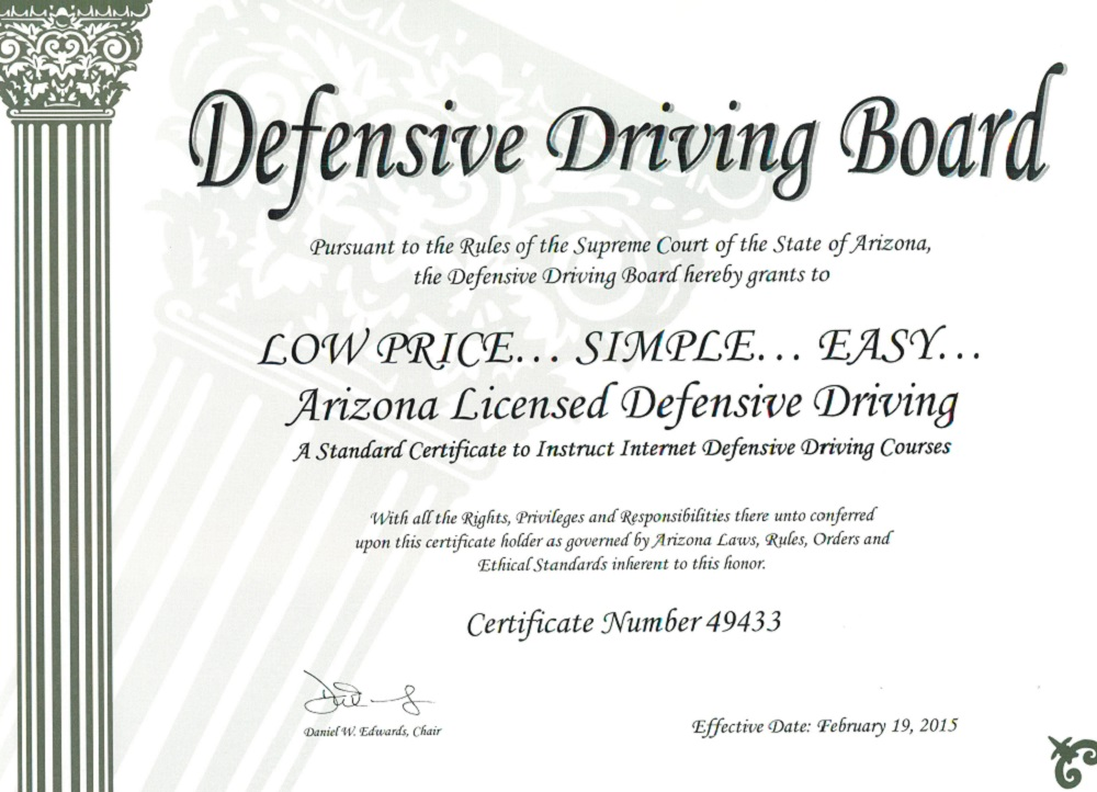 defensive driving paperwork